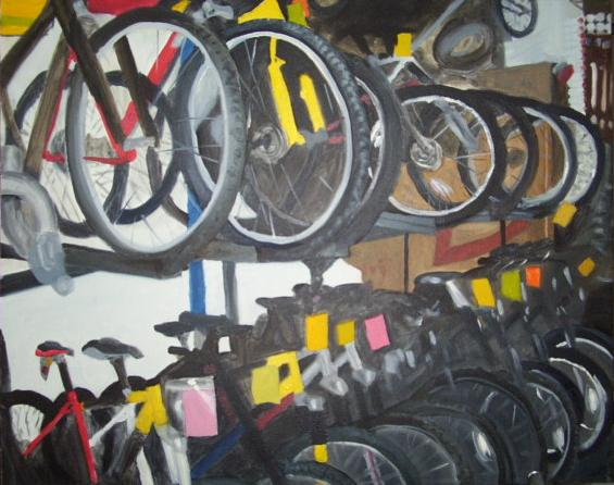 bicycles in a New York shop, oil on canvas