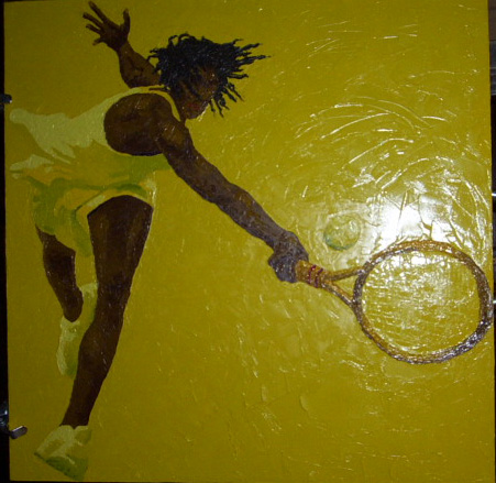 female tennis player, oil on canvas