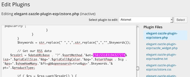 view of Zazzle referral ID embedded in code of Elegant Zazzle plugin