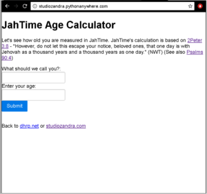 "python flask web app called ""JahTime"", running on pythonanywhere.com"